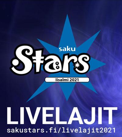 banneri, joka ohjaa livelajit 2021 -alasivulle. Kuvassa SAKUstars-logo ja linkkiteksti.